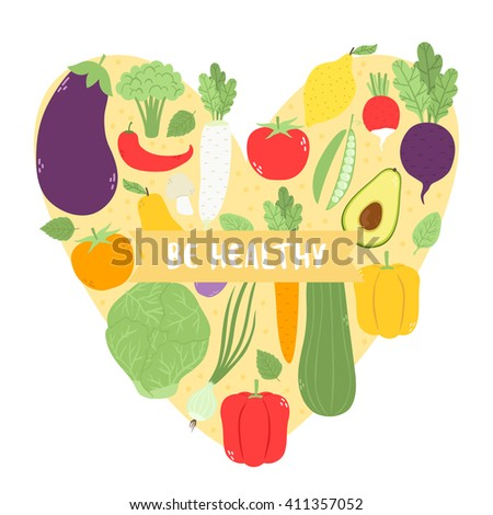 illustration with cute vegetables and fruits into heart frame with be healthy text message