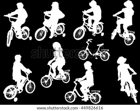 illustration with cyclists isolated on black background
