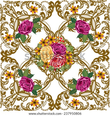 illustration with decorated square with roses - stock vector