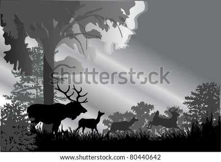illustration with deer silhouettes in grey forest - stock vector