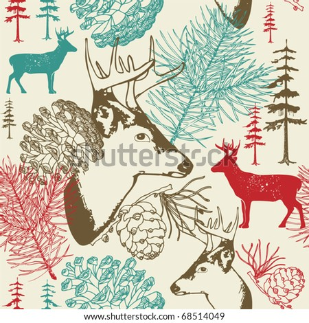 illustration with deers in winter landscape