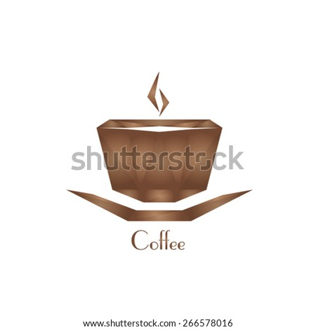 illustration with diamond coffee cup - crystal coffee cup - stock vector