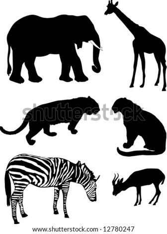illustration with different African animal silhouettes