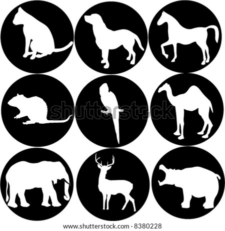 illustration with different animal icons - stock vector