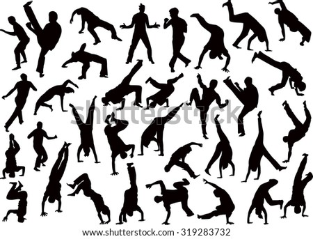 illustration with different fighter silhouettes isolated on transparent background