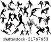 illustration with different fighter silhouettes isolated on white background - stock