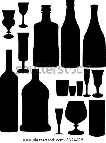illustration with different glass and bottles silhouettes collection