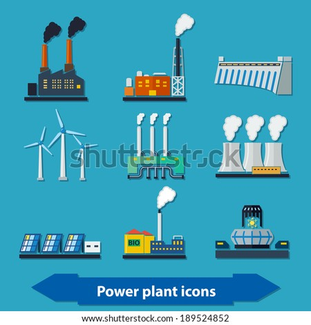 Illustration with different power plant icons in flat style - stock vector