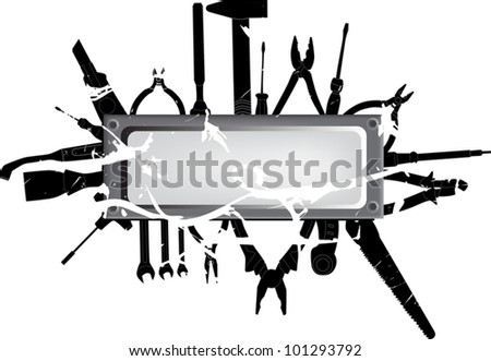 illustration with different tools on white background - stock vector