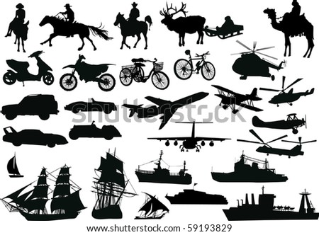 illustration with different transport collection isolated on white background - stock vector