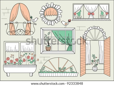 Illustration with different windows and birds - stock vector
