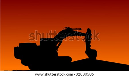 illustration with digger at sunset - stock vector