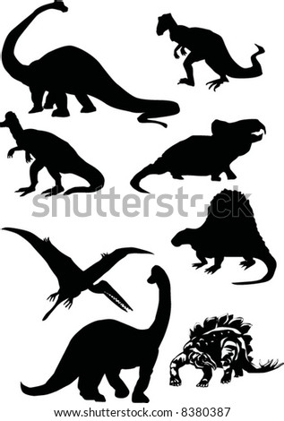 illustration with dinosaur silhouettes collection isolated on white background