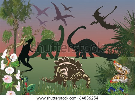 illustration with dinosaurs in green forest - stock vector