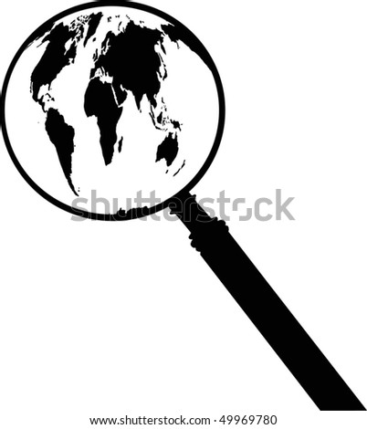 illustration with earth map silhouette and magnifier - stock vector