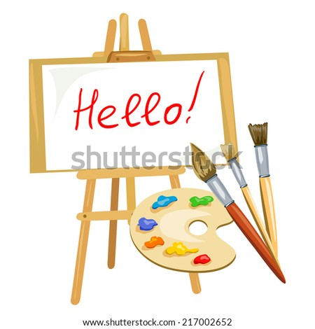 illustration with easel, palette of paints and brushes. vector illustration - stock vector