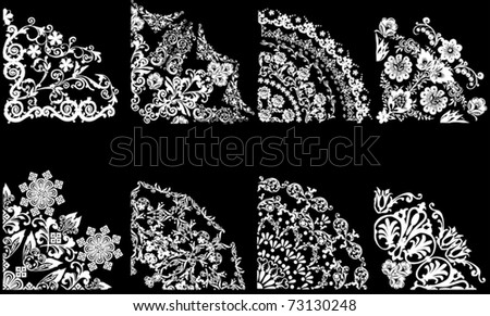 illustration with eight quadrant decorations on black background - stock vector