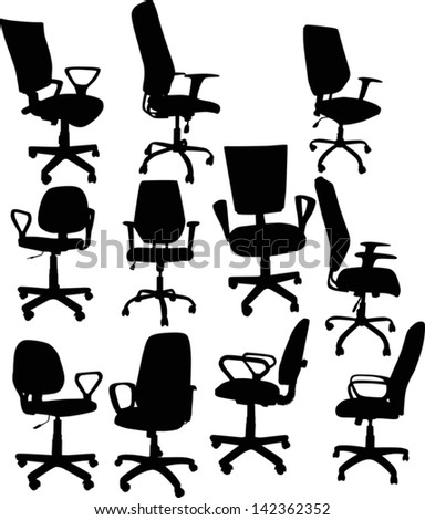illustration with eleven office chairs isolated on white background - stock vector