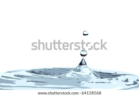 illustration with falling drops isolated on white background - stock vector