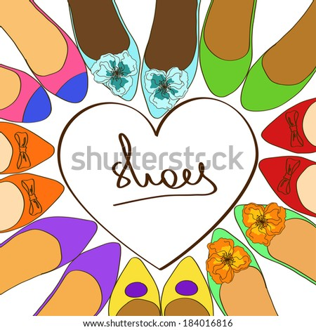 Illustration with fancy colorful ballet flats shoes