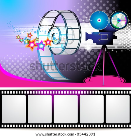 Illustration with film frames and stars over colored background - stock vector