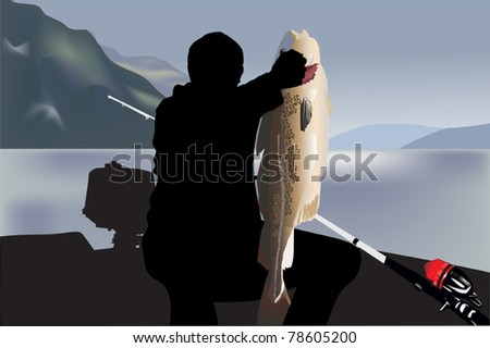 illustration with fisherman and big fish - stock vector