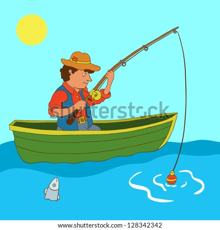 Illustration with fisherman and fish - vector - stock vector