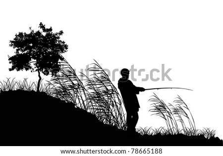 illustration with fisherman silhouettes isolated on white