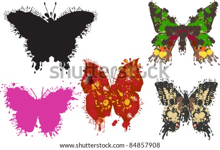 illustration with five painted butterflies on white background - stock vector