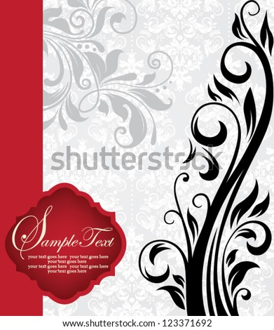 illustration with floral elements and place for text - stock vector