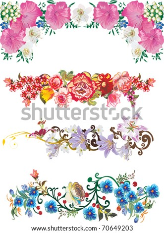 illustration with flower strips collection - stock vector