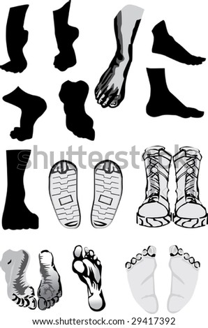 illustration with foots and shoes isolated on white - stock vector