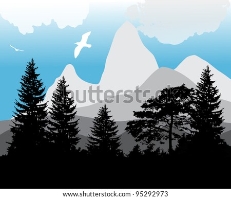 illustration with forest near mountains - stock vector