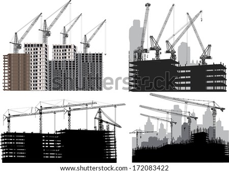 illustration with four cities silhouettes isolated on white background - stock vector