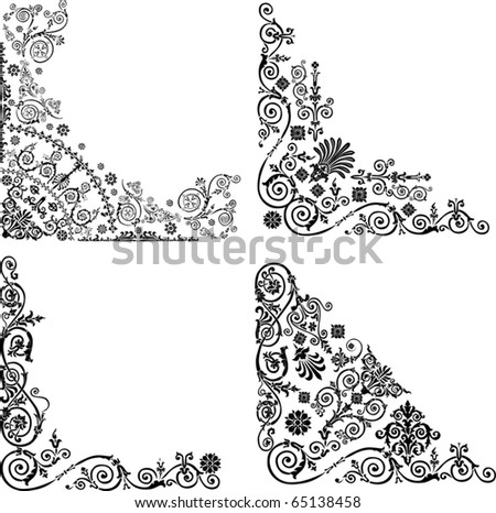 Illustration With Four Corner Decorations On White Background