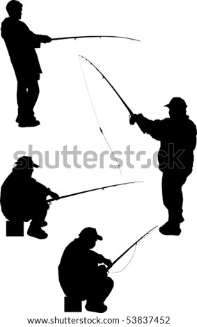 illustration with four fishermen silhouettes isolated on white