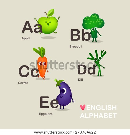 Illustration with funny characters.Children's illustration. Children's alphabet. Funy alphabet. Kids colorful alphabet. Cute vector vegetable alphabet with cartoon and funny fruit in vector.  - stock vector