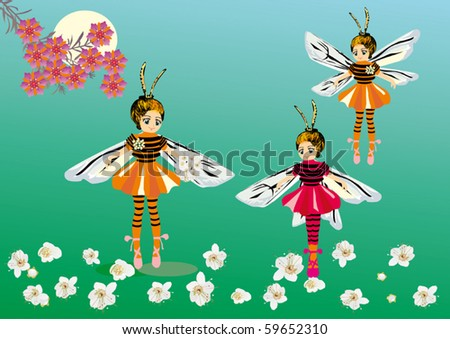 illustration with girls in bee costumes