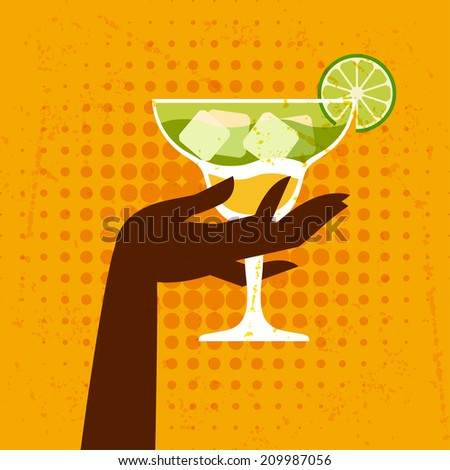 Illustration with glass of margarita and hand. - stock vector