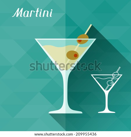 Illustration with glass of martini in flat design style. - stock vector
