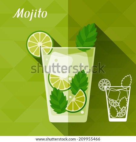 Illustration with glass of mojito in flat design style. - stock vector