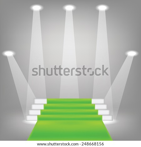 illustration  with green carpet on grey background - stock vector