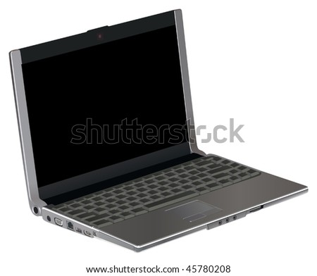 illustration with green laptop isolated on white background