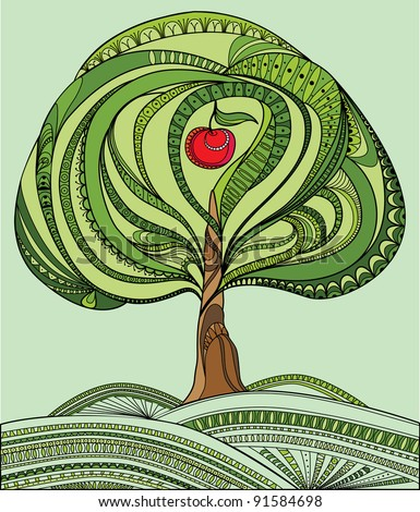 Illustration with green tree and red apple - stock vector