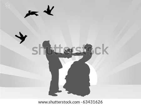 illustration with grey color wedding couple silhouette