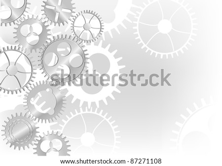 illustration with grey gears background - stock vector