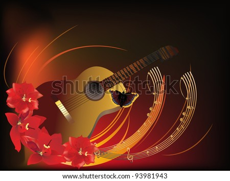illustration with guitar in red lily flowers