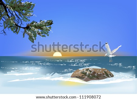 illustration with gull above stone in sea - stock vector