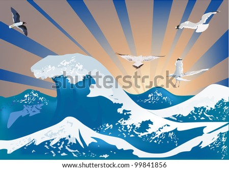 illustration with gulls above sea waves - stock vector