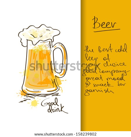 Illustration with hand drawn beer mug - stock vector